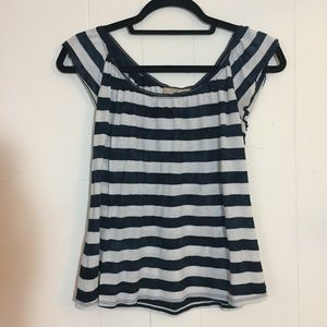 Flutter sleeve navy and white striped blouse